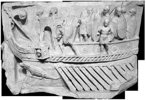 Bas-relief de Préneste, représentant la bataille d'Actium (-31) en Méditerranée ou le débarquement de Claude en Bretagne (43) (musée du Vatican © D.R.)