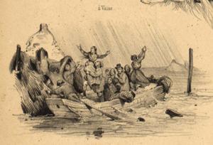 Crue de la Saône de novembre 1840 (gravure : Victor Adam)