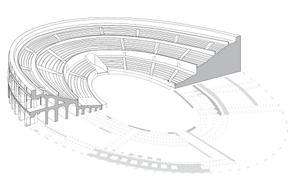 Hypothèse de restitution volumétrique de l'amphithéâtre