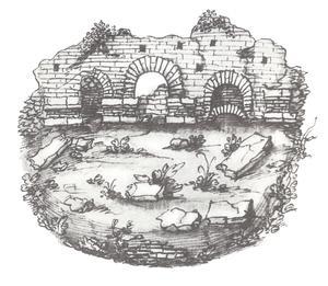 Arcades de l'amphithéâtre (dessin de G. Symeoni, L'origine et le antichità di Lione, 1559).