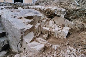 Carrière antique d'exploitation du gneiss © SA Ville de Lyon