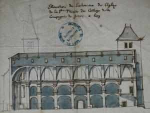 élévation de l'église de la Sainte Trinité attribuée à De la Monce