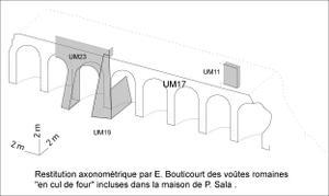 Proposition de restitution des arcades (en grisé, les vestiges conservés) © SA Ville de Lyon
