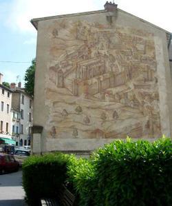 Fresque représentant l'ensemble de l'abbaye de Saint-Just sur le plan scénographique de 1550 © Université Lyon II