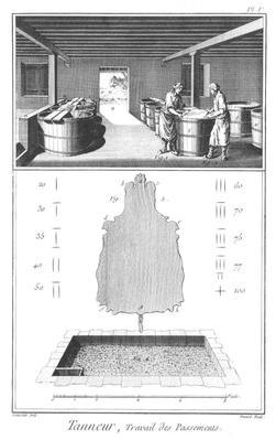 Bassin de préparation du jus de tannée - sources : encyclopédie Diderot et d'Alembert, 1771